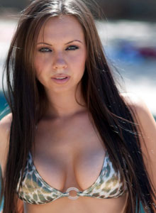 Devine Ones Busty Babe Darla Is At The Pool In A Very Skimpy String Bikini That She Strips Out Of - Picture 1